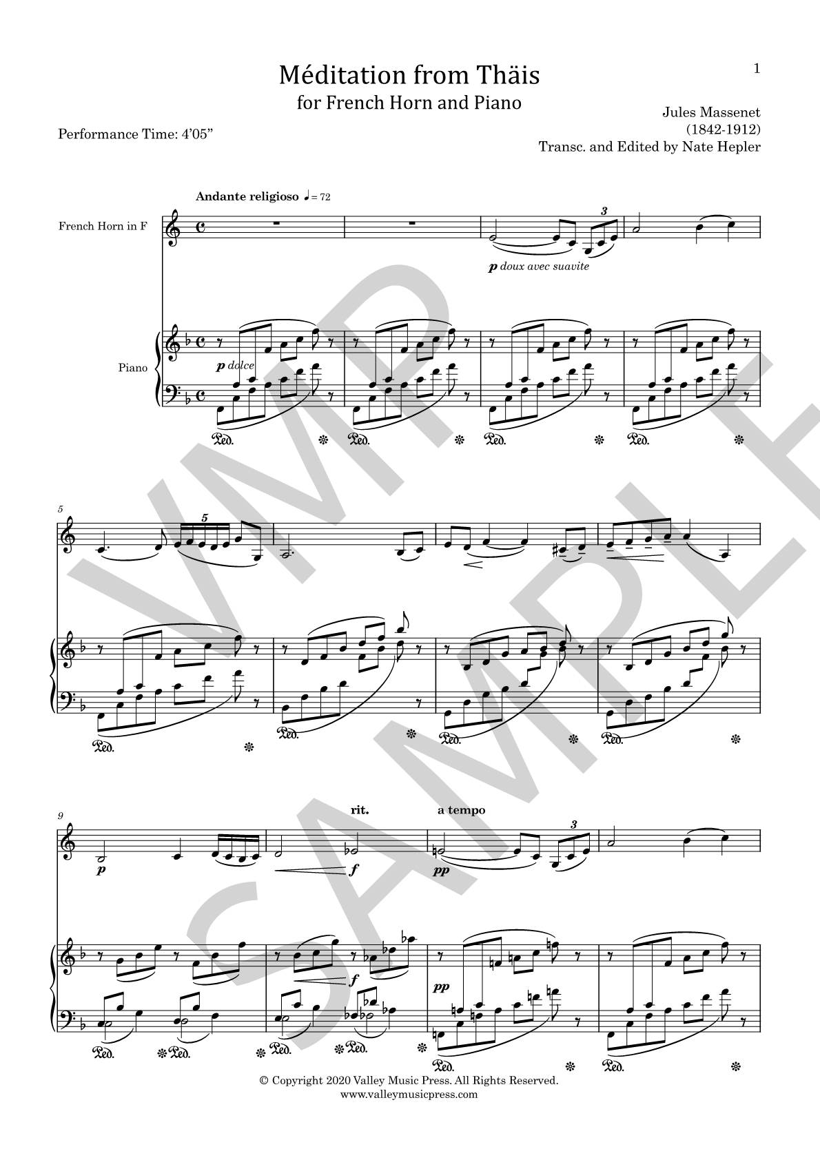 Massenet - Meditation from Thais (Hrn & Piano) - Click Image to Close