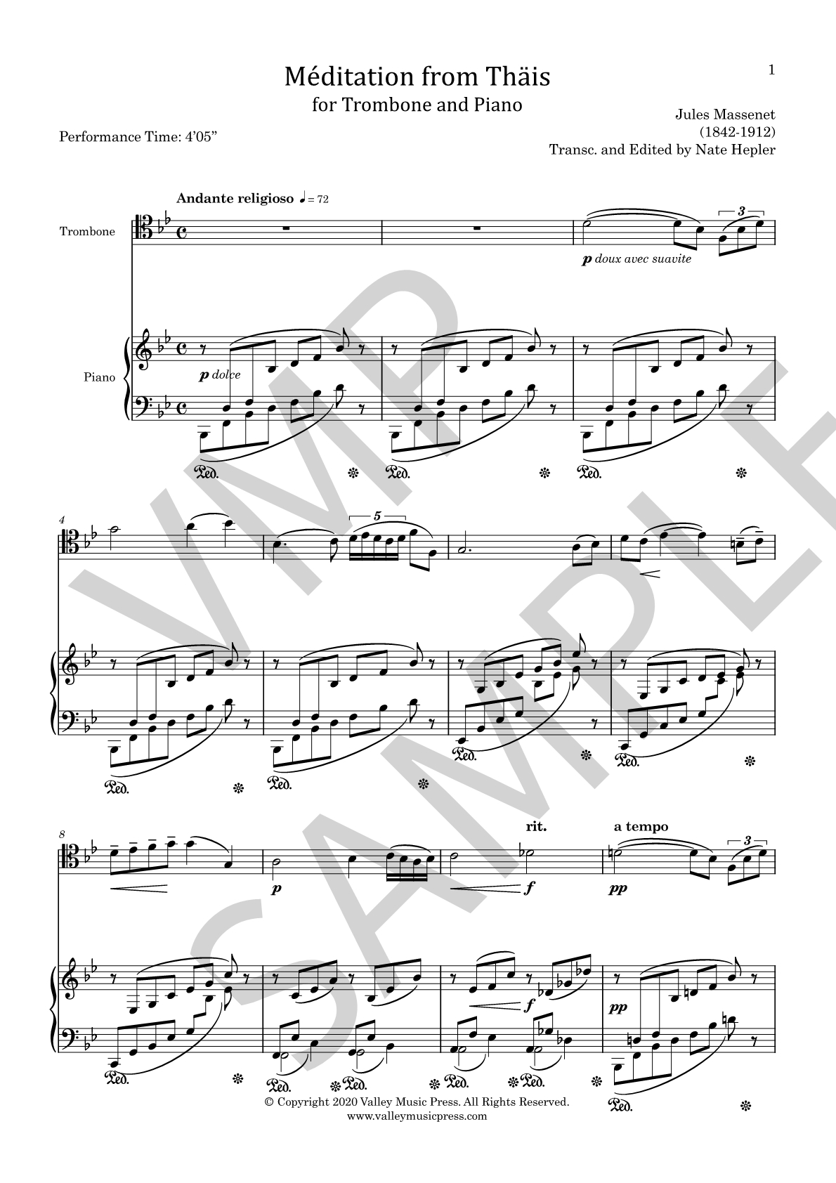 Massenet - Meditation from Thais (Trb & Piano) - Click Image to Close