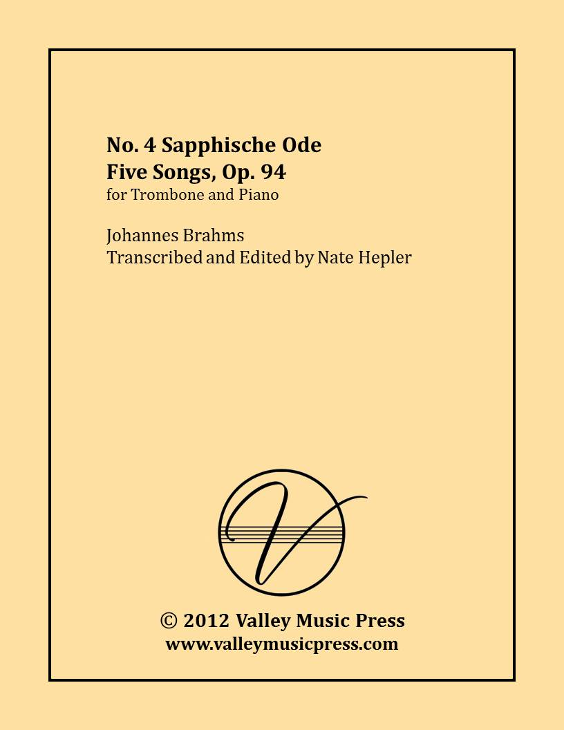 Brahms - Sapphische Ode Five Songs Op. 94 No. 4 (Trb & Piano)