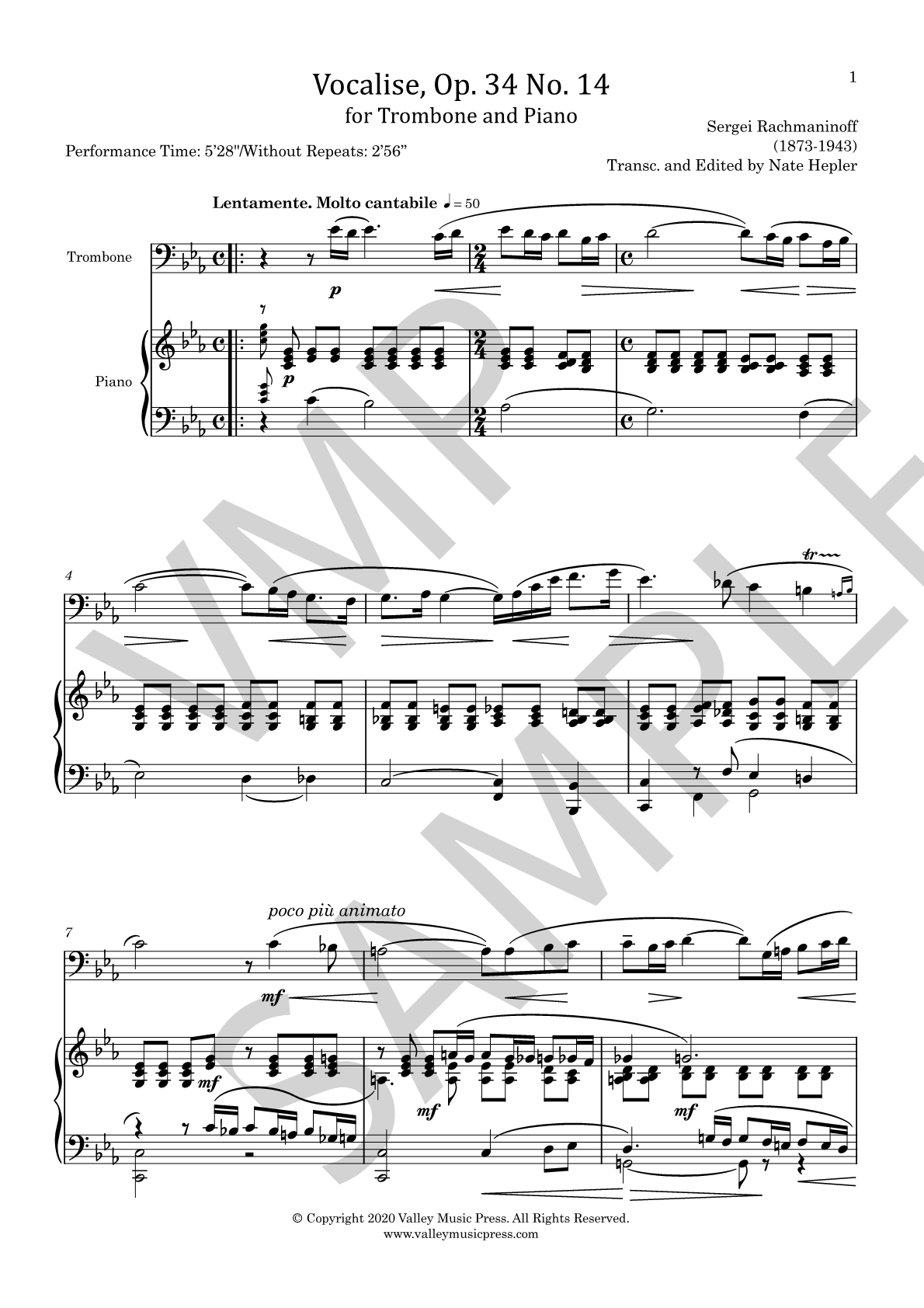 Rachmaninoff - Vocalise Op. 34 No. 14 (Trb & Piano) - Click Image to Close